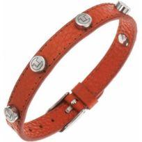Ted Lapidus Bijoux - Promo Bracelet Ted lapidus D51135O - Bracelet Cuir Orange Clouté