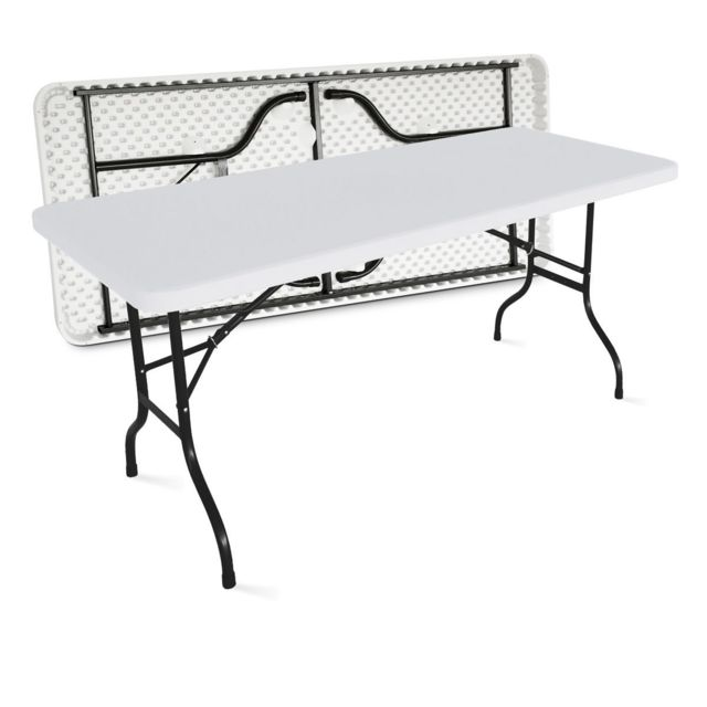 MOBEVENTPRO Table de jardin pliante 180cm 8 places buffet traiteur extérieure - Blanc - 180cm x 74cm x 75cm