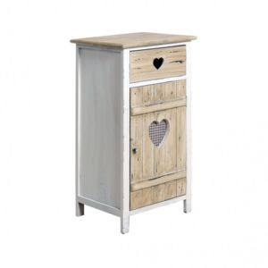 mobili rebecca meuble d 39 appoint commode 1 tiroir 1 porte love bois clair rustique shabby chic. Black Bedroom Furniture Sets. Home Design Ideas