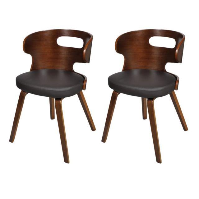 Chaise de salle à manger 2 pcs Cadre en bois Cuir synthétique 240707 | Multicolore