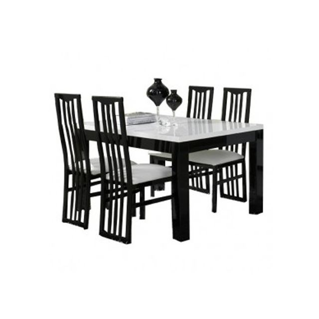 Manger À Noir 160 L 4 Roma Blanc Cm Table Decodesign Chaises Pas f7b6gy