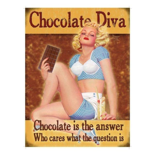 Universel Plaque pin up chocolate diva tole deco cuisine chocolaterie