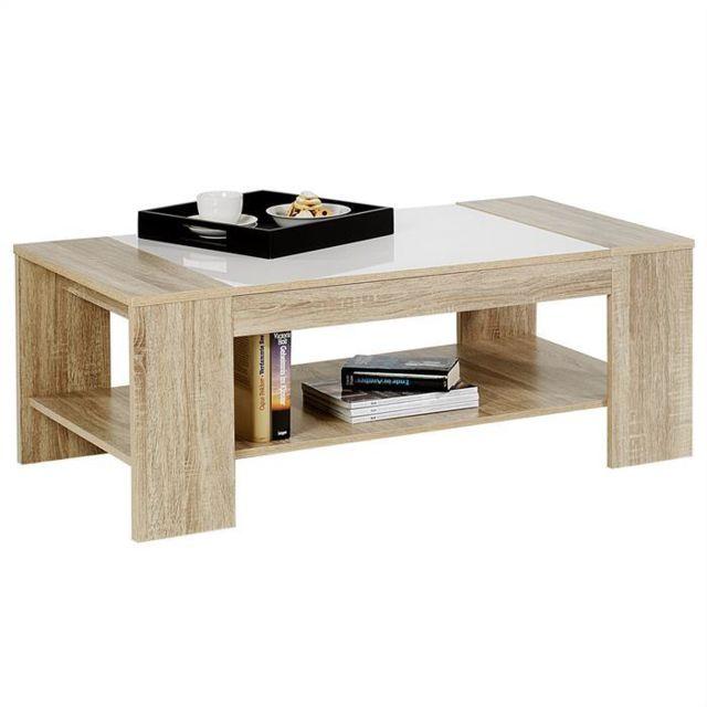 IDIMEX Table basse NOVO MDF décor sonoma & blanc brillant