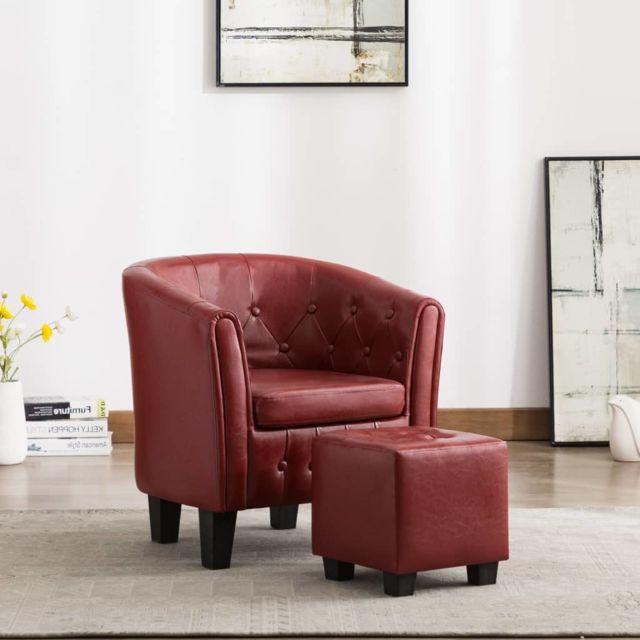Fauteuil avec repose pied Rouge Bordeaux Similicuir Salon Chambre