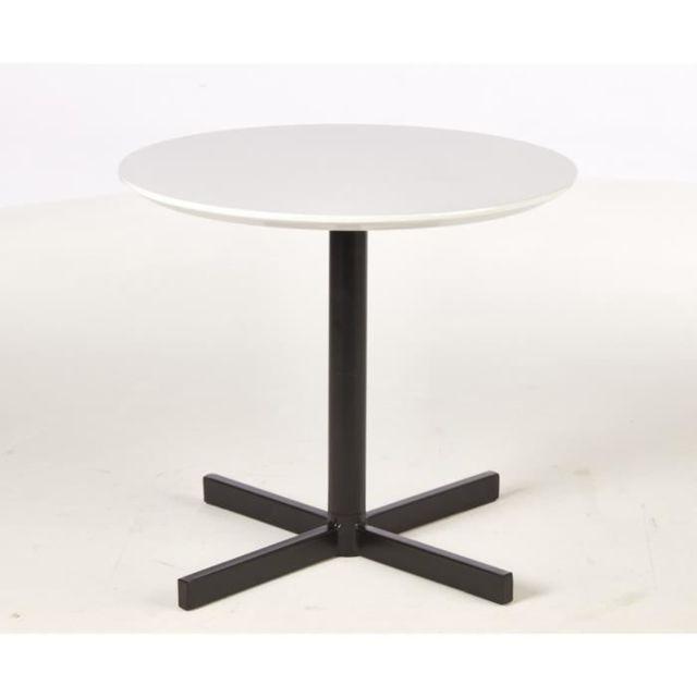 BOUT DE CANAPE KOLDING 2 Tables basses style contemporain décor blanc brillant et chene avec pieds en métal - L 45 x l 4