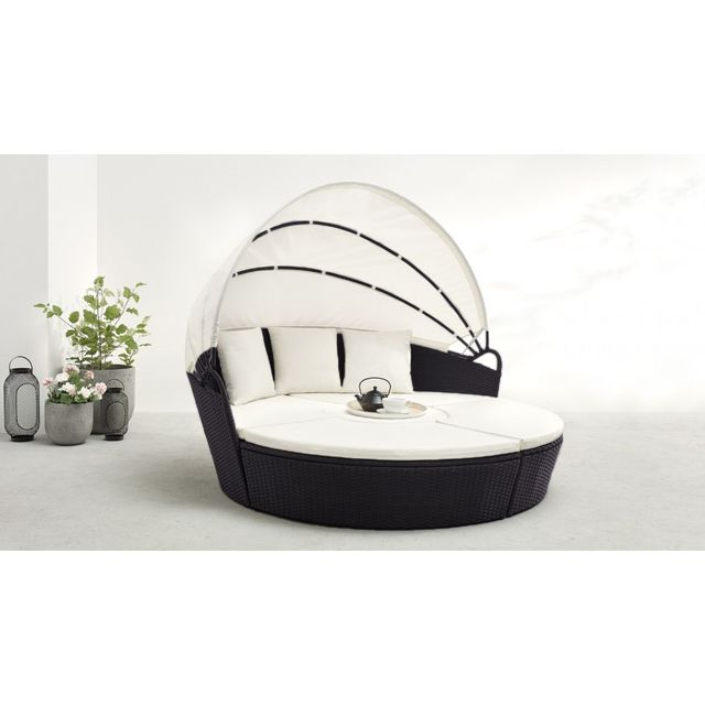 Bobochic - Salon de jardin Monaco modulable 6 à 8 places noir blanc ...