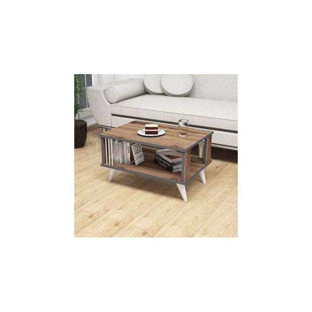Homemania Table Basse Nicol Porte-Revues, Livres - avec Étagère - pour Salon, Canapé - Noyer, Anthracite, Blanc en Bois, 70 x 50 x