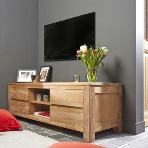 bois dessus bois dessous meuble tv en bois de teck 150. Black Bedroom Furniture Sets. Home Design Ideas