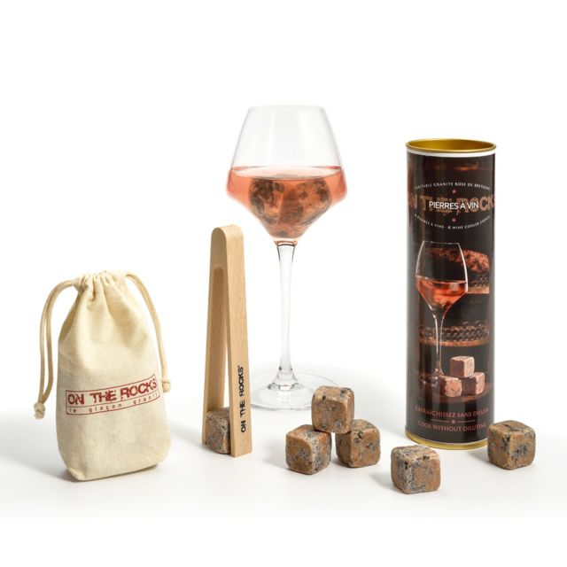 TABLE PASSION ON THE ROCKS - COFFRET 6 GLACONS GRANIT PIERRES A VIN