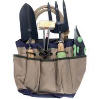 Capvert - Sacoche porte outils jardin avec sécateur, fourche et transplantoir Cap Vert