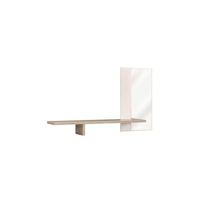 Miroir + 1 étagère 182x102x30cm blanc et naturel - Cassandre