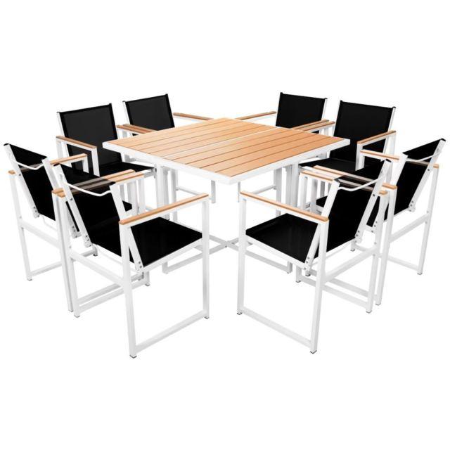 Ensembles de meubles d'extérieur Contemporain Mobilier d'extérieur 9 pcs 109x109x72 cm Aluminium WPC Marron