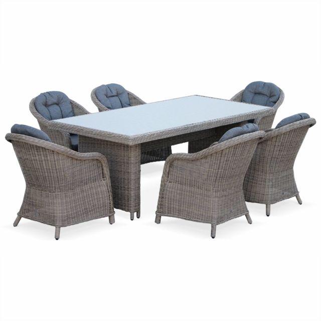 0bc3fcae756da2 ALICE S GARDEN - Salon de jardin avec sa table en résine tressée 6 places  osier canapé