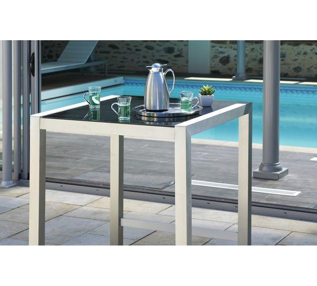 Dcb Garden Table bar en aluminium et plateau verre
