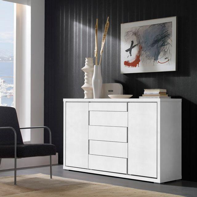 Tousmesmeubles Buffet 2 portes 5 tiroirs Blanc 180 cm - Apra
