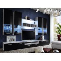 Asm-mdlt - Ensemble meuble Tv Dorade en noir et blanc de haute brillance avec Led