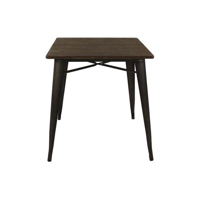 HELLIN Table carré en bois et métal noir - LITO