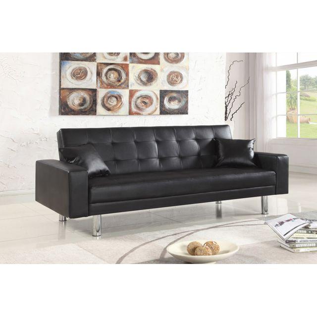 oneboutic banquette clic clac 3 places noir grande taille elbe pas cher achat vente. Black Bedroom Furniture Sets. Home Design Ideas