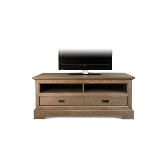 Meuble Tv bas 2 tiroirs en chêne