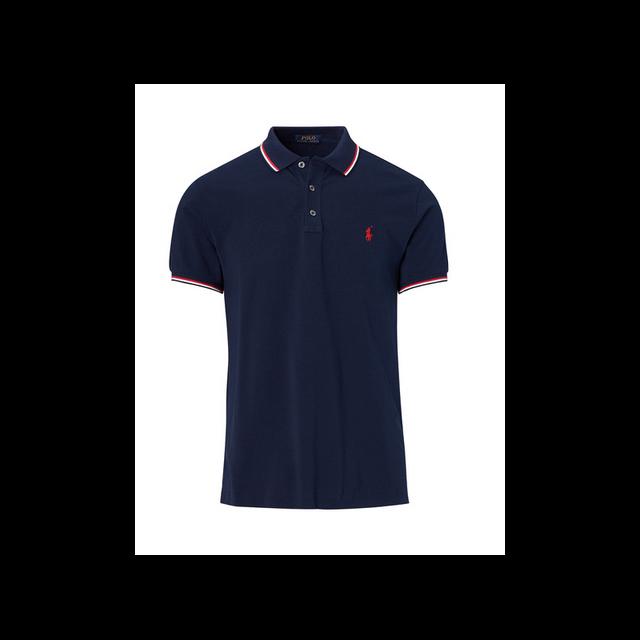 Ralph Lauren - Polo Custom- Fit Bleu Marine A Liseres Taille M - pas cher  Achat   Vente Polo homme - RueDuCommerce 2bca29e591eb