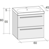 Riho - Ensemble meuble & lavabo Belluno Set 01 en bois brillant 60x45x H 60 cm