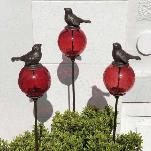 L'ORIGINALE Deco 3 Pics Tige Tuteurs Porte Plante de Jardin Rouge Oiseau Marron 117 cm