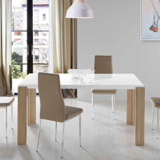 Nouvomeuble Table à manger moderne blanc laqué et couleur chêne clair Manon