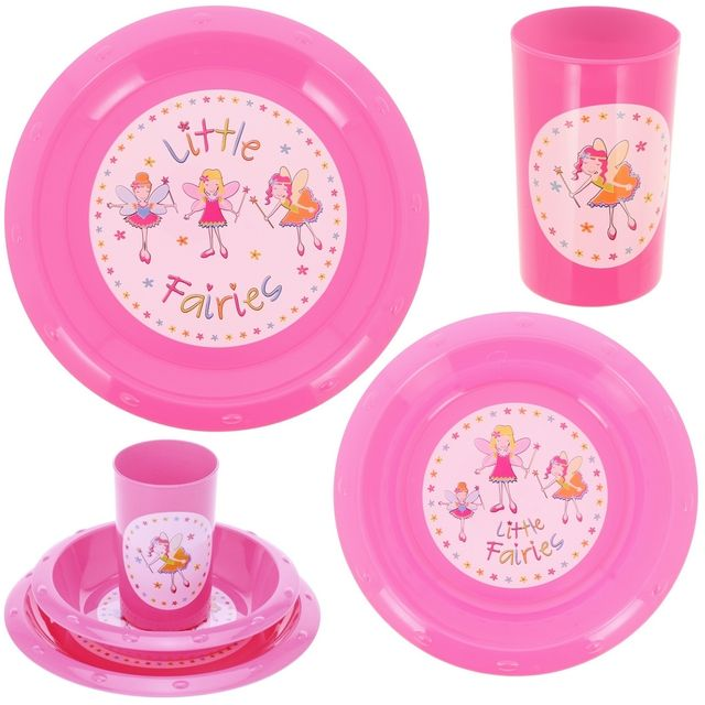 Promobo Set Repas Enfant Imprimé Princesse 3 Pièces Gobelet Assiette Et Bol