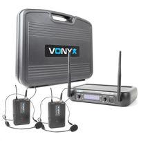 VONYX - WM73H Set de 2 micros VHF sans fil 2 canaux 2 émetteurs de poche + casque