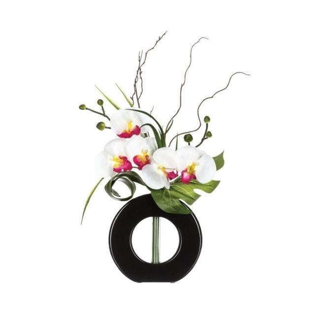 Composition orchidée vase - 36 x 16 x 44 cm - Porcelaine - Noir