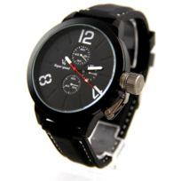 V6 Montre Homme - Montre d Homme Bracelet Silicone Noir V6 1606