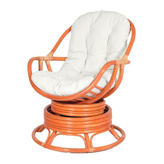 Rotin-design Soldes: -46% Fauteuil pivotant en rotin Java orange - Rotin Design