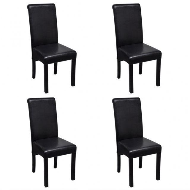 Casasmart Lot de 4 chaises en simili cuir noir