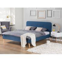 Beliani - Lit en tissu - lit double 180x200 cm - bleu foncé - sommier inclus - Rennes