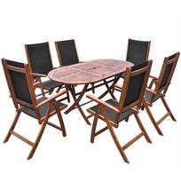 Jeu de salle à manger d\'extérieur pliable 7 pièces en bois d\'acacia