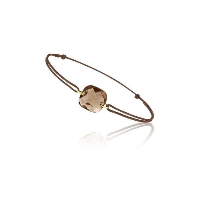Tousmesbijoux Bracelet cordon Or jaune 750/00 et quartz fumé taille coussin