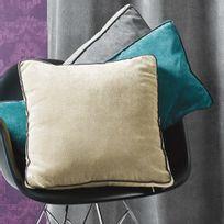 Home Maison - Coussin déhoussable uni velours polyester passepoils contrastés Garance