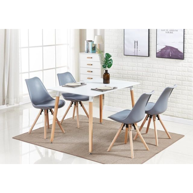 Table Blanche + 4 Chaises Grises Scandinaves Sophie Halo
