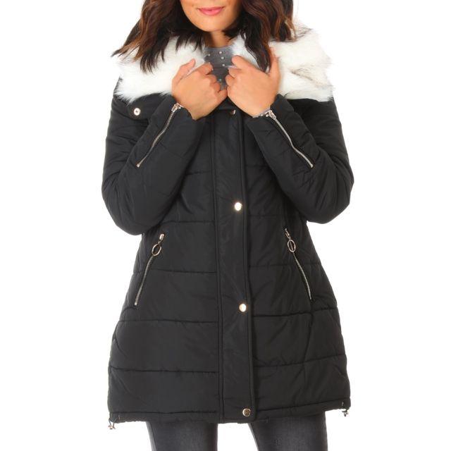lamodeuse manteau noir col en fausse fourrure blanche pas cher achat vente blouson femme. Black Bedroom Furniture Sets. Home Design Ideas