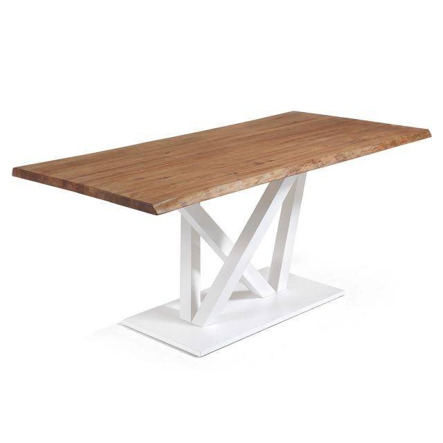 Kavehome Table Nyc 220x100, epoxy blanc plateau chêne vieilli