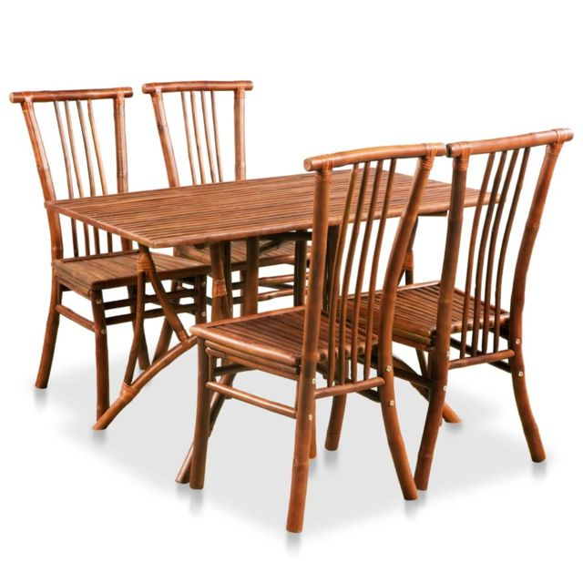 Vidaxl Mobilier de Salle à Manger 5 pcs Bambou Table Carrée Salon à Manger