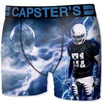 Capster'S Official - Boxer Homme Microfibre Foo Noir Bleu