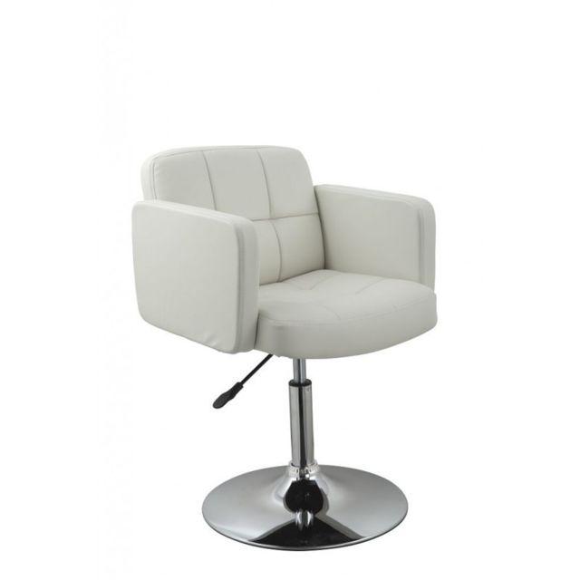 Autre Fauteuil lounge design hauteur réglable en similicuir blanc Fal09030