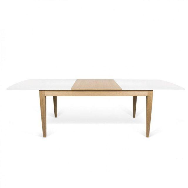 Inside 75 Table repas extensible scandinave Bertha 90 190 cm blanche et chêne massif