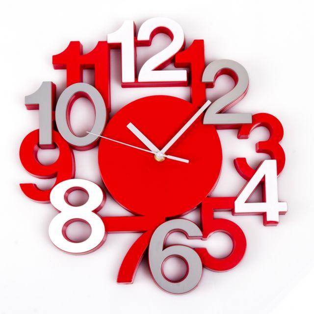 Maison Futée - Horloge murale silencieuse chiffres 3D - Rouge