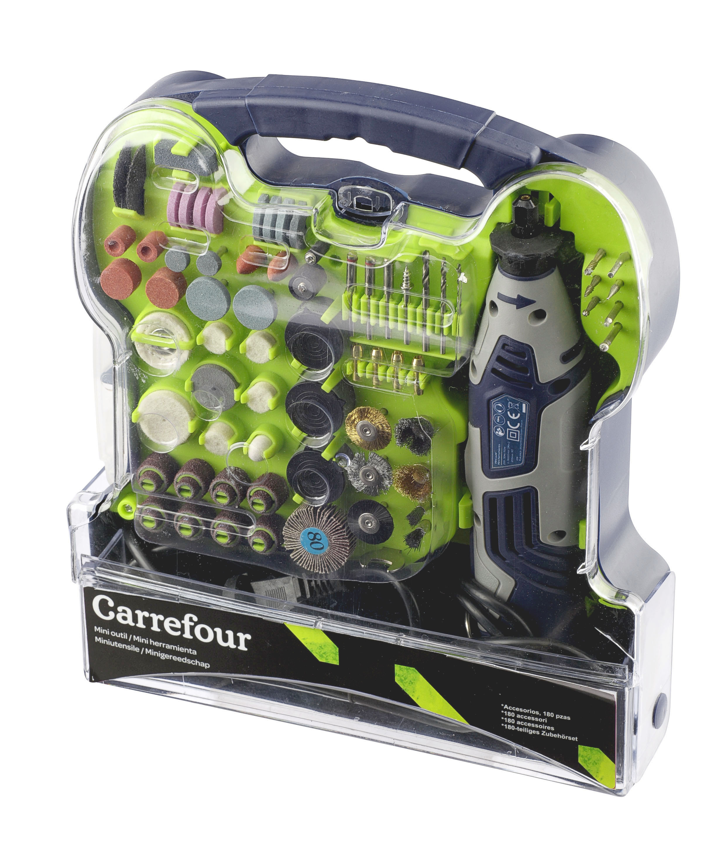 CARREFOUR Lot de 180 mini outils 150 W