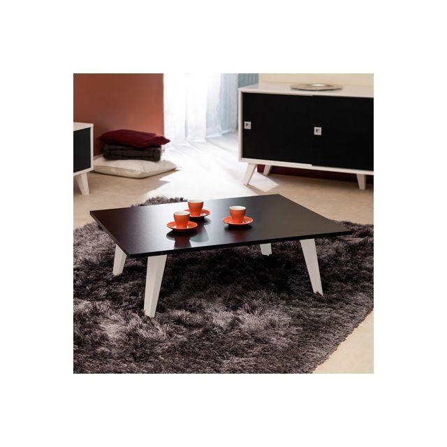 Table basse sur pieds inclinés plateau noir