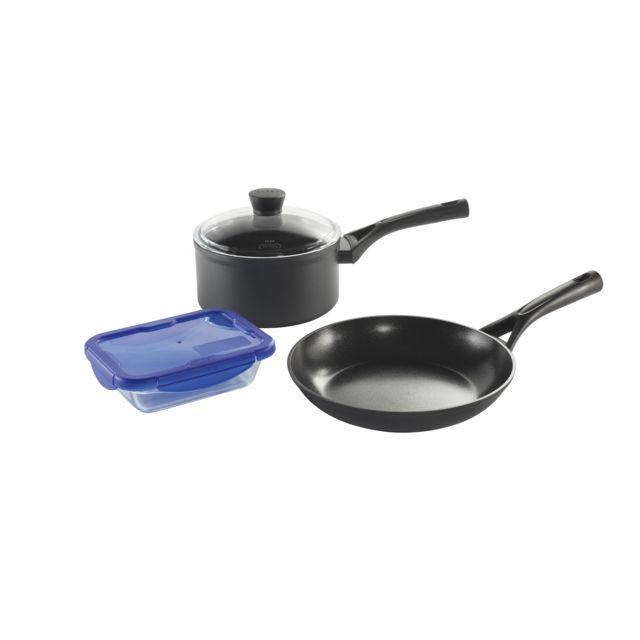PYREX Set poêle 24 cm + casserole 20 cm + plat 20x15 cm