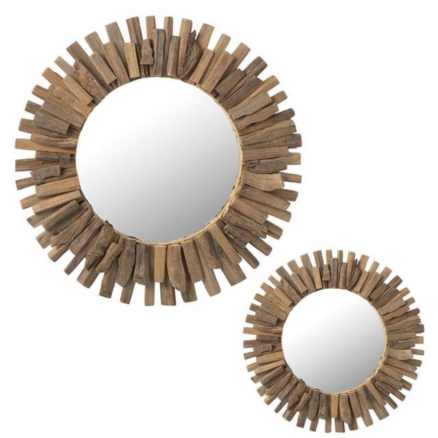 Tousmesmeubles Duo de Miroirs Bois naturel - Jargalan