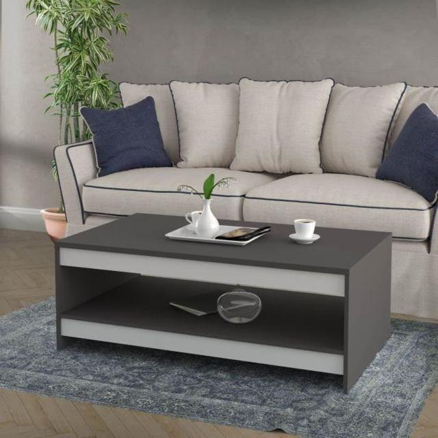 TABLE BASSE Table basse MIDTOWN - Contemporain - Décor blanc mat et gris wolfram uni - L 94.5 cm